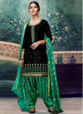 Black and Sea Green Designer Patiala Salwar Kameez