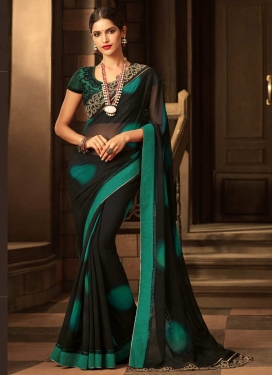 Black and Sea Green Embroidered Work Trendy Classic Saree