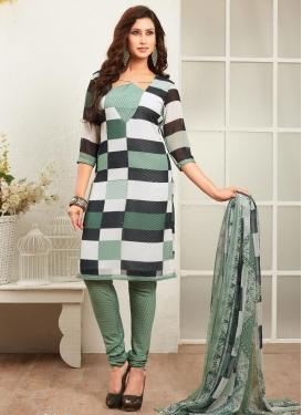 Black and Sea Green Faux Georgette Churidar Punjabi Salwar Suit