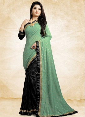Black and Sea Green Lace Work Designer Half N Half Saree