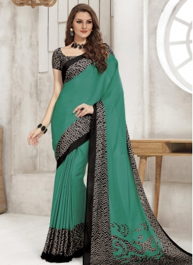Black and Sea Green Print Work Traditional Saree