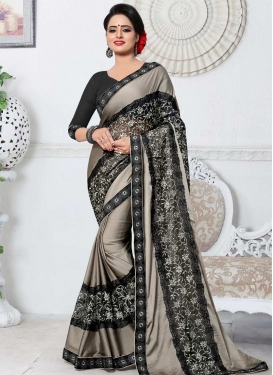 Black and Silver Color Embroidered Work Silk Georgette Traditional Designer Saree