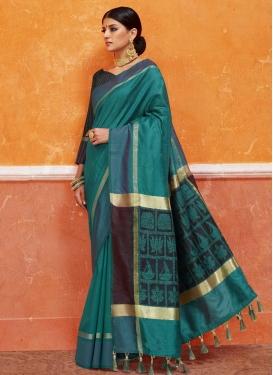 Black and Teal Art Silk Traditional Saree