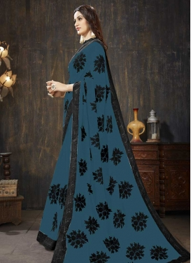 Black and Teal Embroidered Work Faux Georgette Traditional Designer Saree