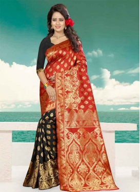 Black and Tomato  Banarasi Silk Half N Half Designer Saree