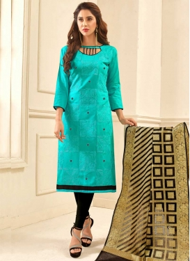 Black and Turquoise Cotton Trendy Churidar Salwar Kameez