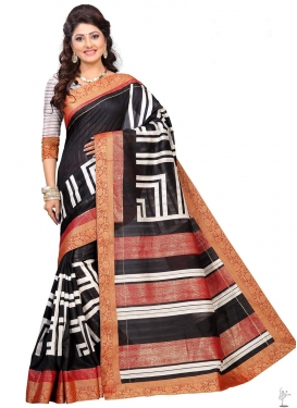Black and White Bhagalpuri Silk Contemporary Saree