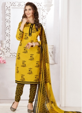 Black and Yellow Churidar Salwar Suit For Casual