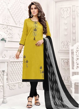 Black and Yellow Embroidered Work Cotton Silk Churidar Salwar Kameez
