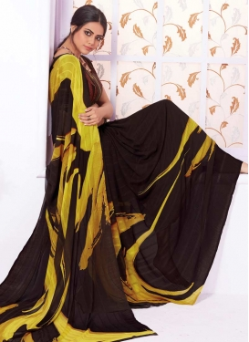 Black and Yellow Faux Georgette Classic Saree