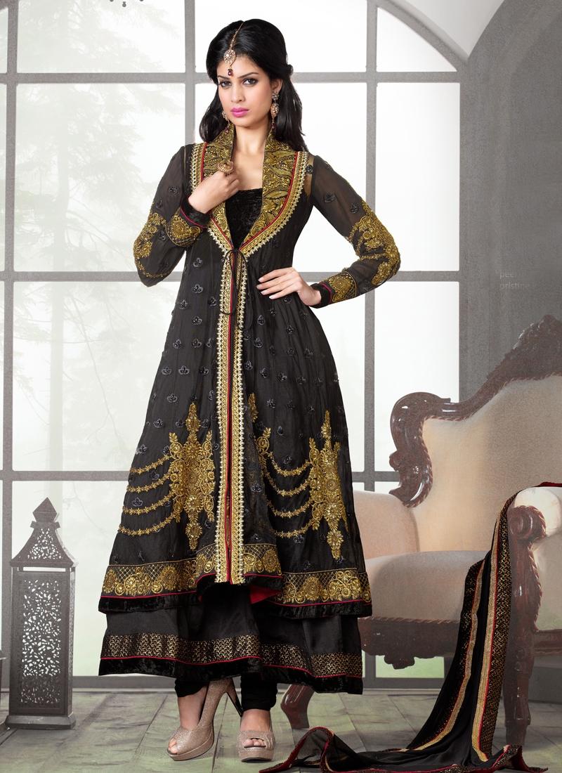 Black Color Multi Work Designer Salwar Kameez