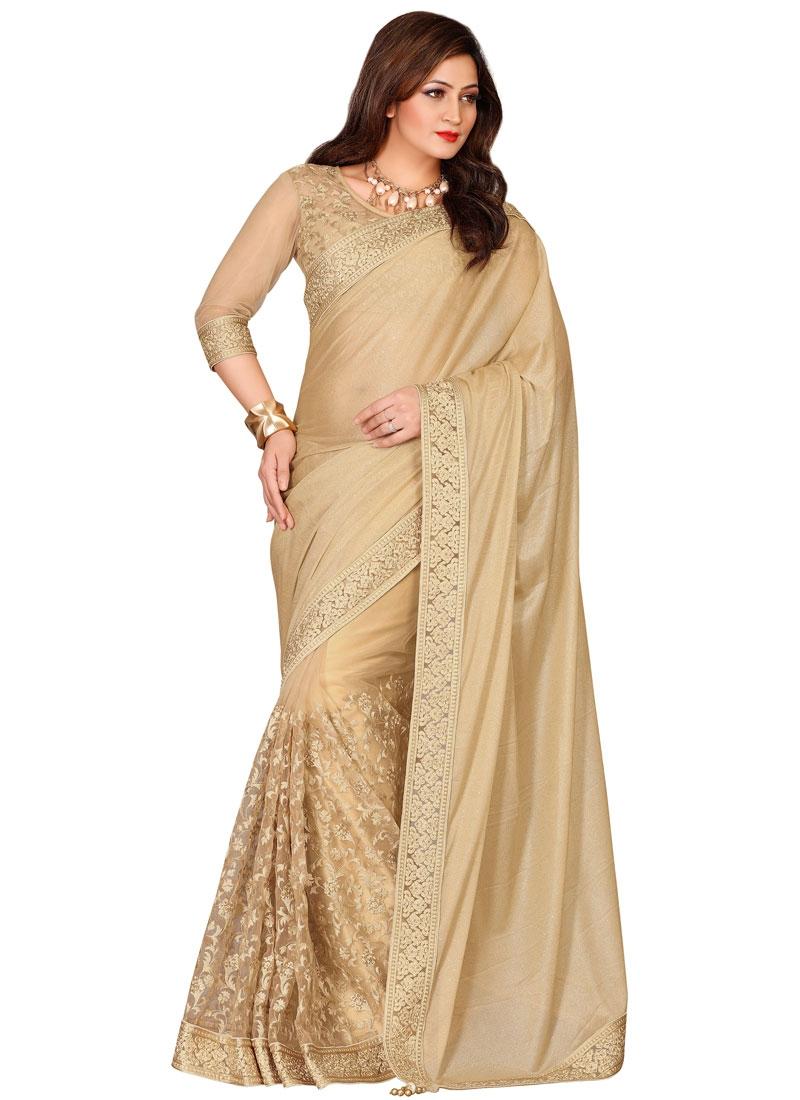Blissful Beige Color Lycra And Net Designer Saree