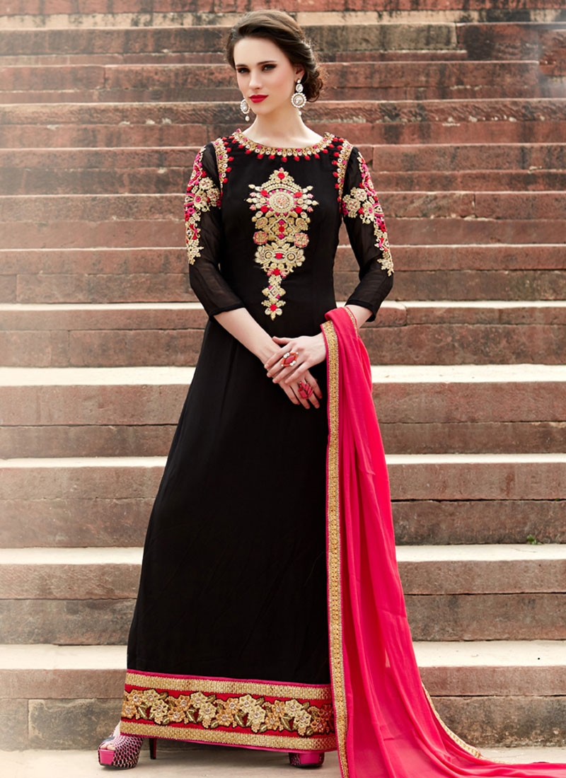 Blissful Black Color Long Length Pakistani Salwar Kameez