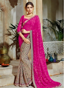 Blissful Brasso Georgette Cream and Rose Pink Lace Work Half N Half Trendy Saree