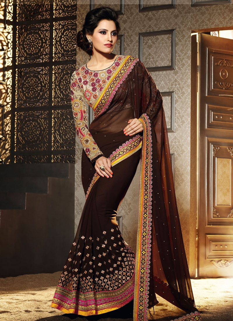 Blissful Coffee Brown Color Designer Saree