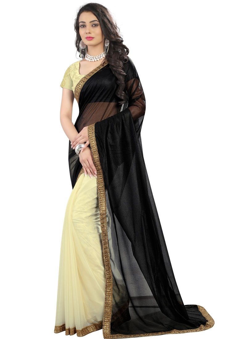 Blissful Cream And Black Color Half N Half Casual Saree