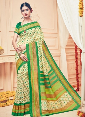 Blissful Cream and Green Print Work Art Silk Contemporary Style Saree