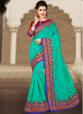 Blissful Embroidered Work Contemporary Style Saree