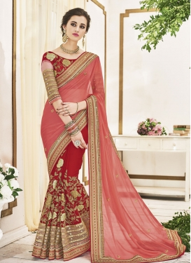 Blissful Embroidered Work Faux Chiffon Crimson and Salmon Half N Half Trendy Saree