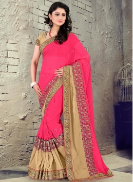 Blissful Faux Chiffon Beige Contemporary Style Saree