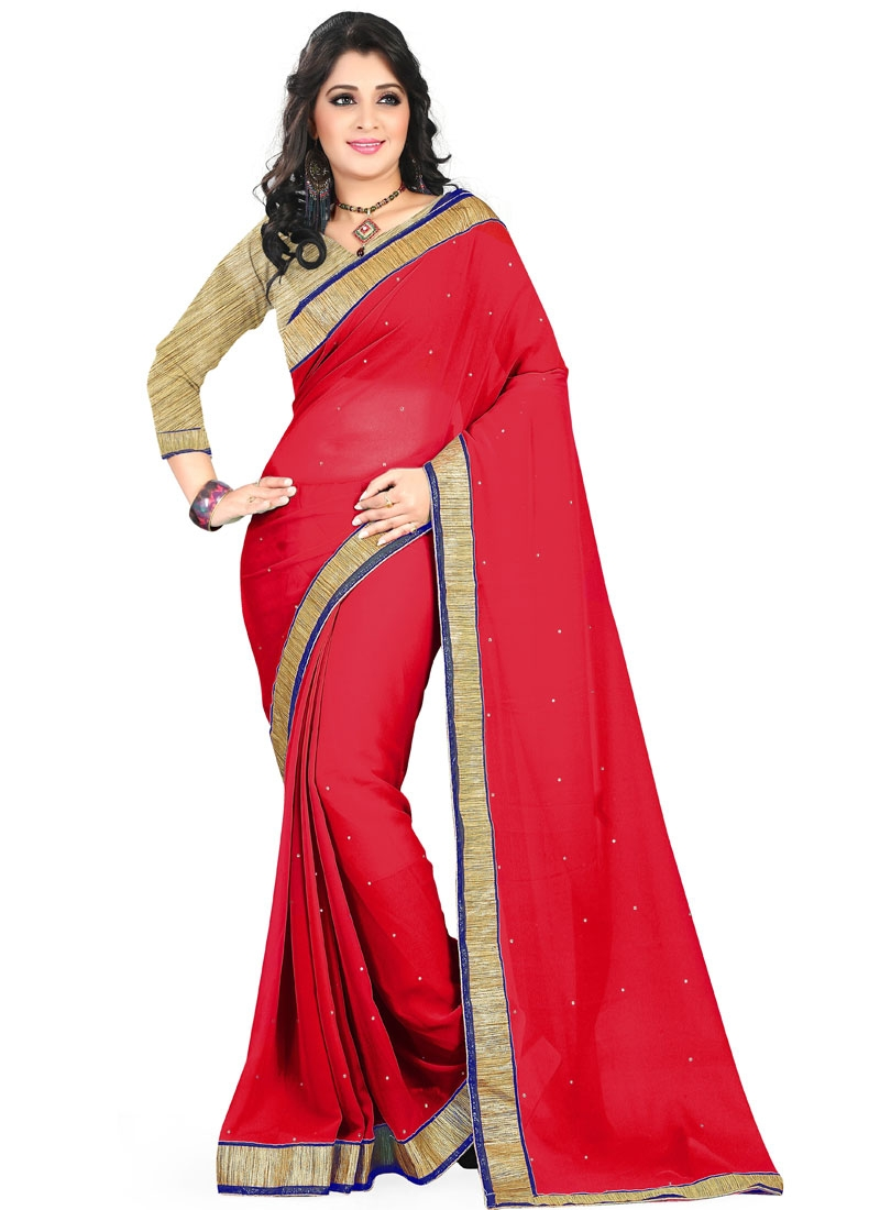 Blissful Lace Work Faux Georgette Red Color Casual Saree