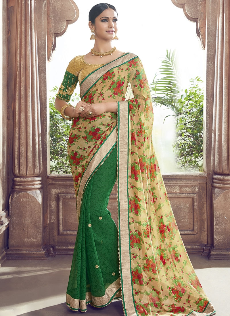 Blissful Lace Work Green Color Half N Half Party Wear Saree