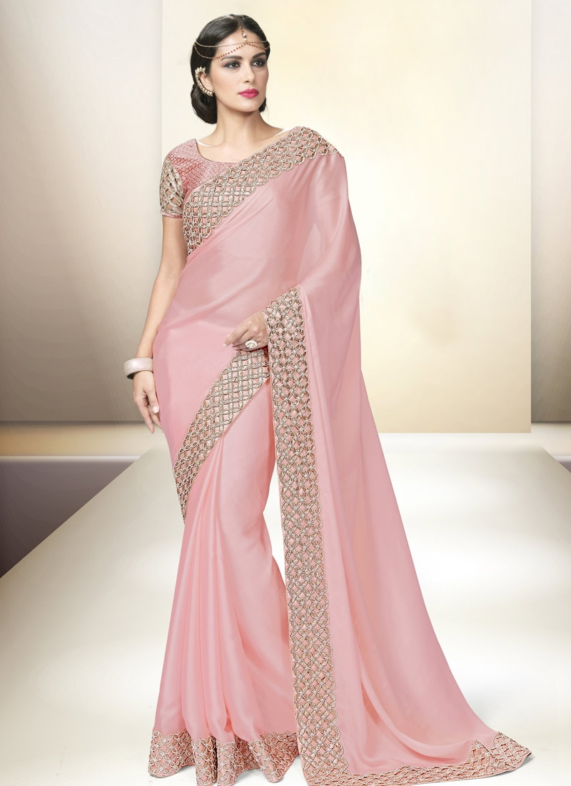 Blissful Lace Work Satin Party Wear Saree