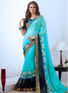 Blissful Light Blue Color Party Wear Saree