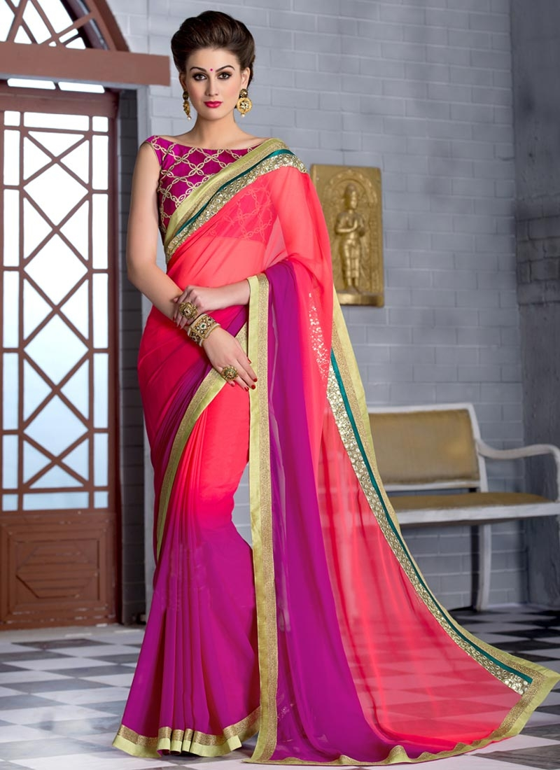 Blissful Mirror And Sequins Work Party Wear Saree