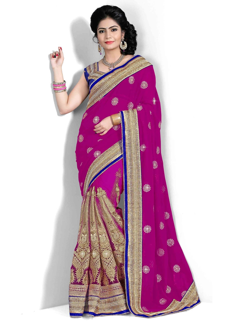 Blissful Multi And Lace Work Georgette Bridal Saree