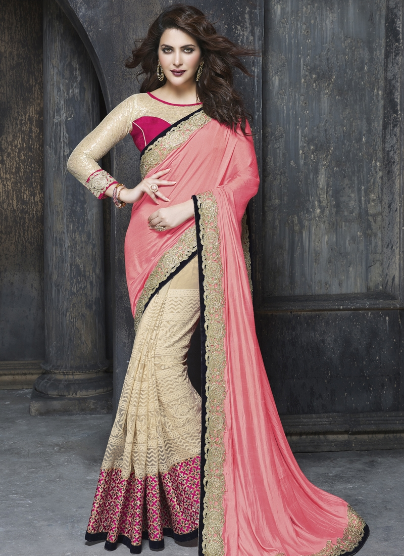 Blissful Patch Border Work Half N Half Designer Saree