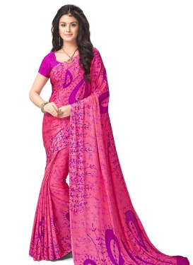 Blissful Print Work Crepe Silk Contemporary Style Saree