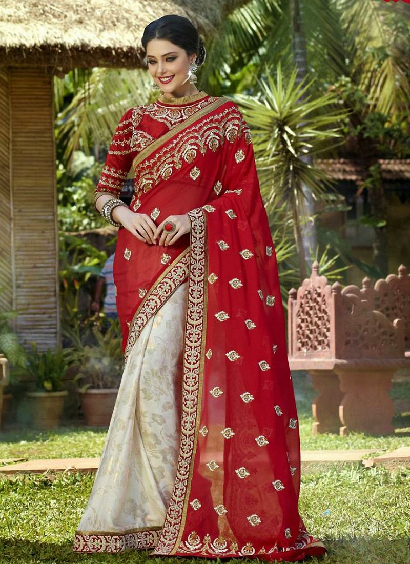 Blissful Red Color Half N Half Wedding Saree