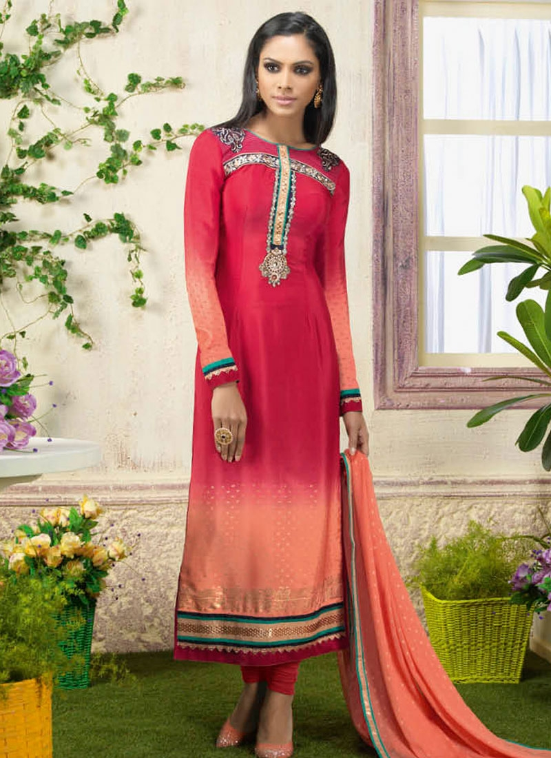 Blissful Rose Pink And Peach Color Churidar Suit
