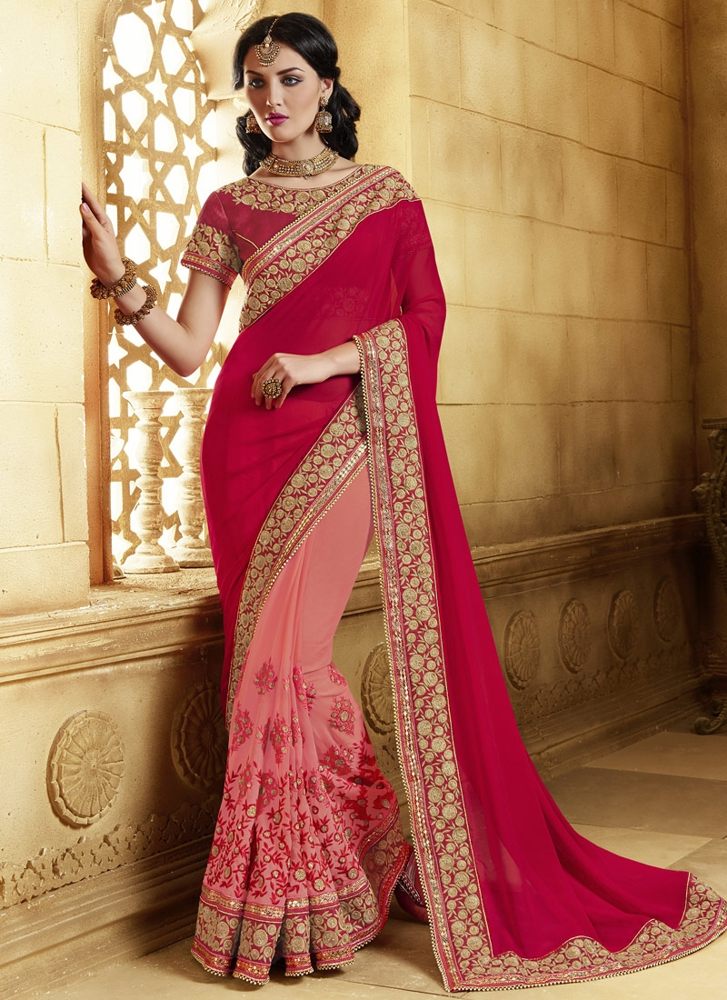 Blissful Sequins And Booti Work Half N Half Designer Saree