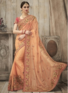 Blissful  Shimmer Georgette Beads Work Trendy Classic Saree