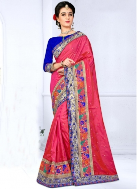 Blissful Silk Embroidered Work Blue and Rose Pink Contemporary Style Saree