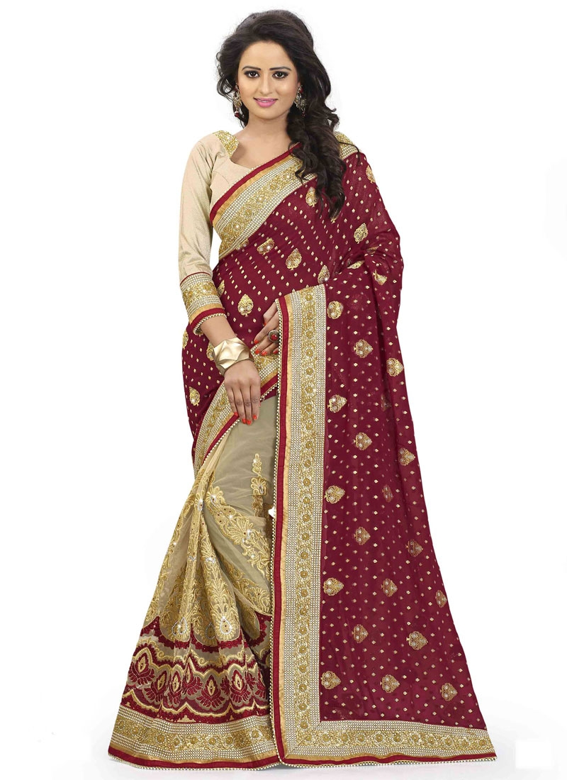Blissful Stone Work Net Half N Half Wedding Saree