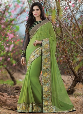Blooming Aloe Veera Green Color Chiffon Designer Saree