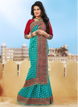 Blooming Aqua Blue Color Stone Work Designer Saree