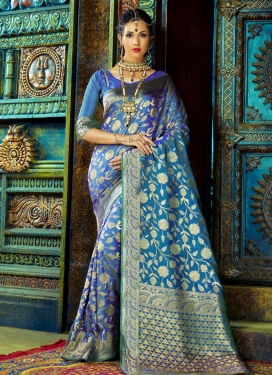 Blooming Art Silk Thread Work Classic Saree