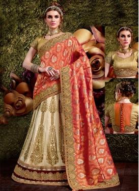 Blooming Beads Work Fancy Fabric Lehenga Style Saree