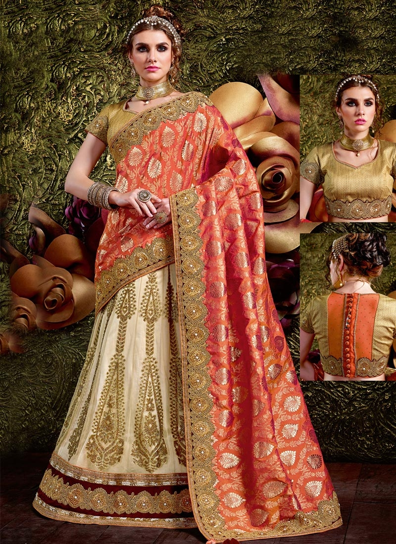 Blooming Beads Work Fancy Fabric Lehenga Style Saree