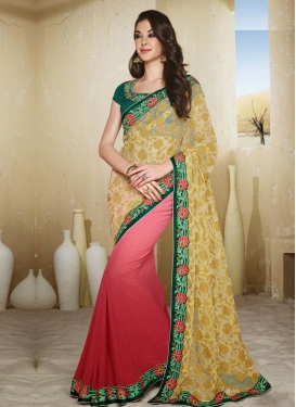 Blooming Beige And Rose Pink Color Half N Half Designer Saree
