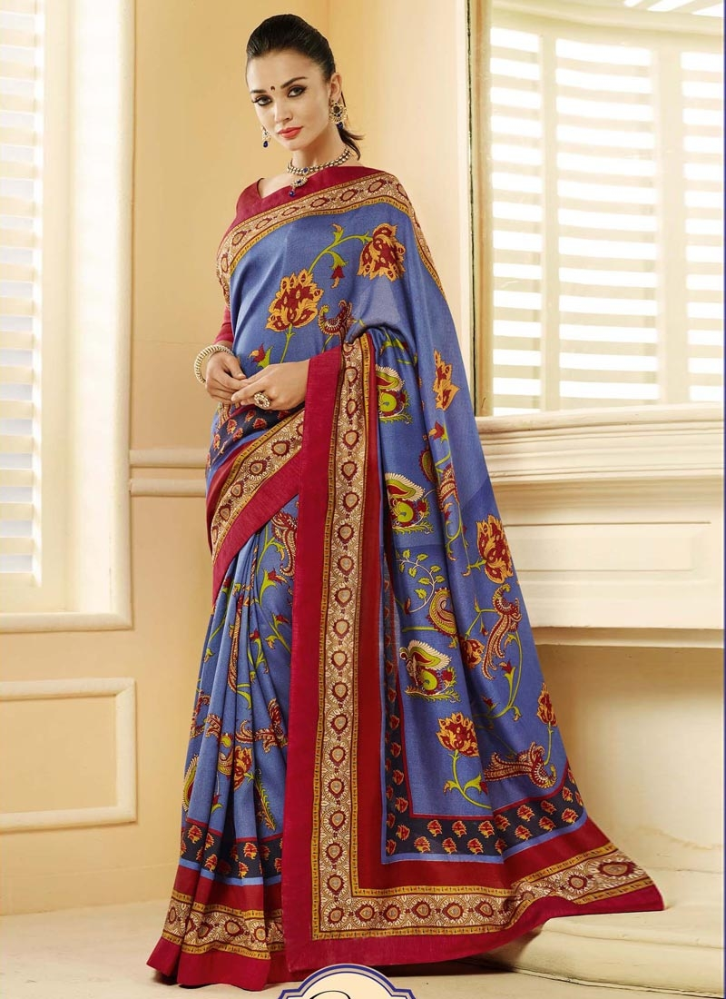 Blooming Blue And Crimson Color Casual Saree
