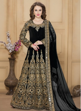 Blooming Booti Work Tafeta Silk Long Length Anarkali Salwar Suit For Ceremonial