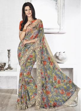 Blooming Digital Print Work Classic Saree For Ceremonial