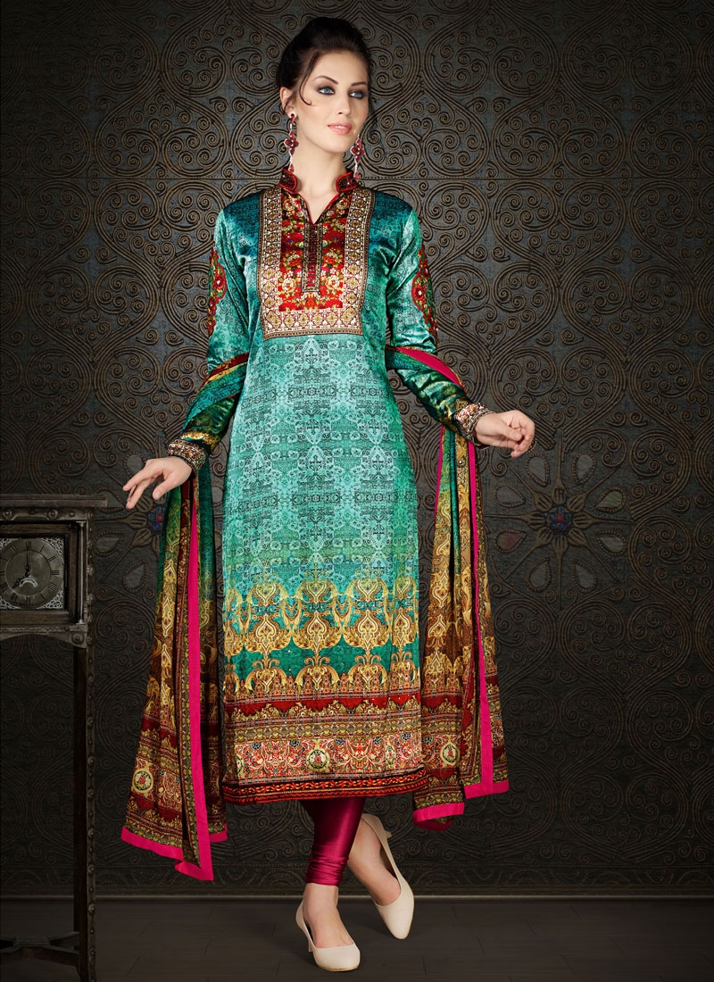 Blooming Digital Print Work Straight Party Wear Salwar Kameez