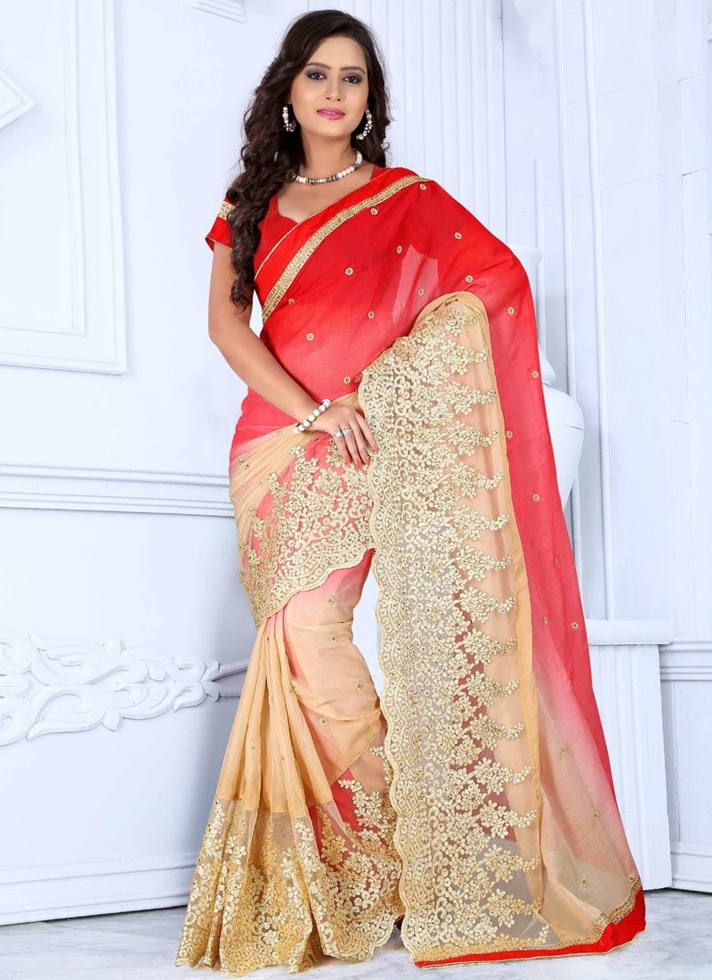 Blooming Embroidery Work Designer Saree