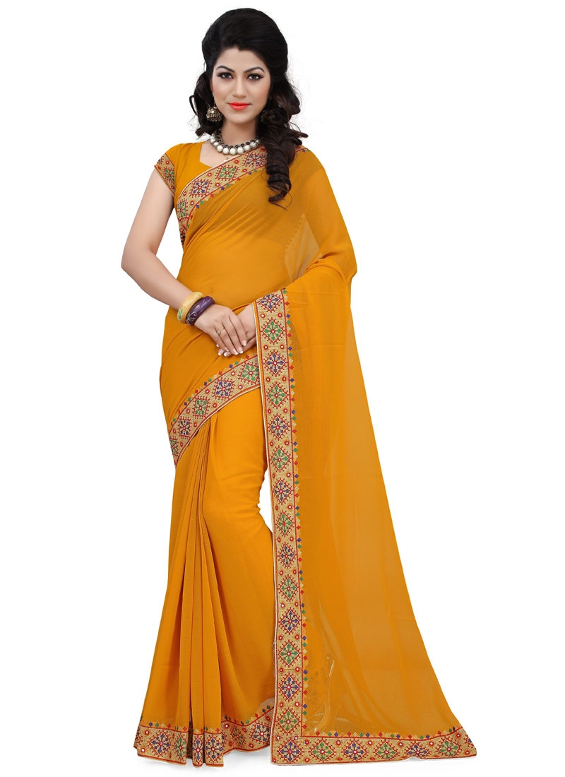 Blooming Faux Chiffon Mustard Color Casual Saree